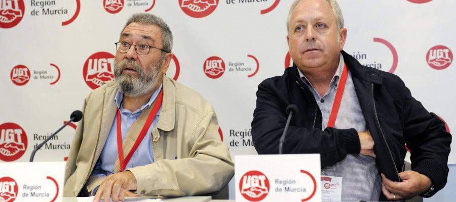 Cándido Méndez junto al secretario general del sindicato en Murcia.