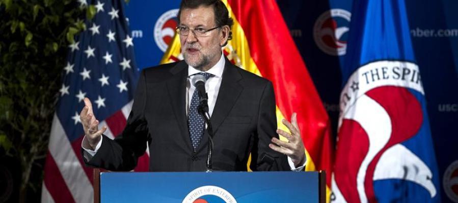 Mariano Rajoy, durante el discurso que ha ofrecido en la Cámara de Comercio de Washington