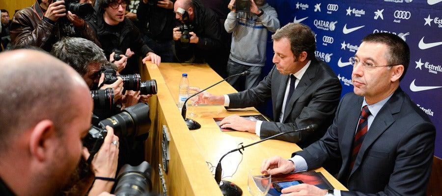 Rosell y Bartomeu, en rueda de prensa