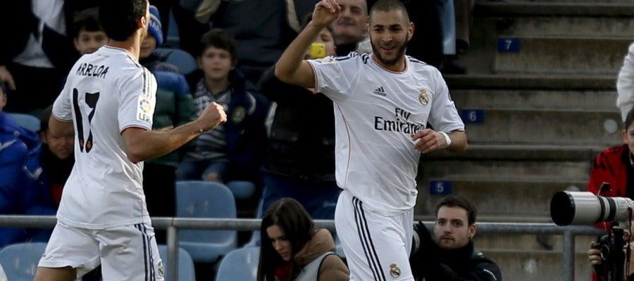 Benzemá celebra su gol contra el Getafe