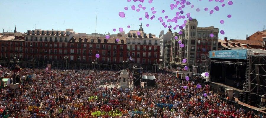 Plaza Mayor de Valladolid durante el pregón inaugural de las fiestas de Nuestra Señora de San Lorenzo