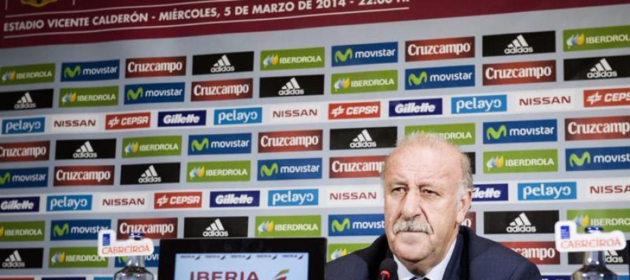 El seleccionador español, Vicente del Bosque, en la rueda de prensa