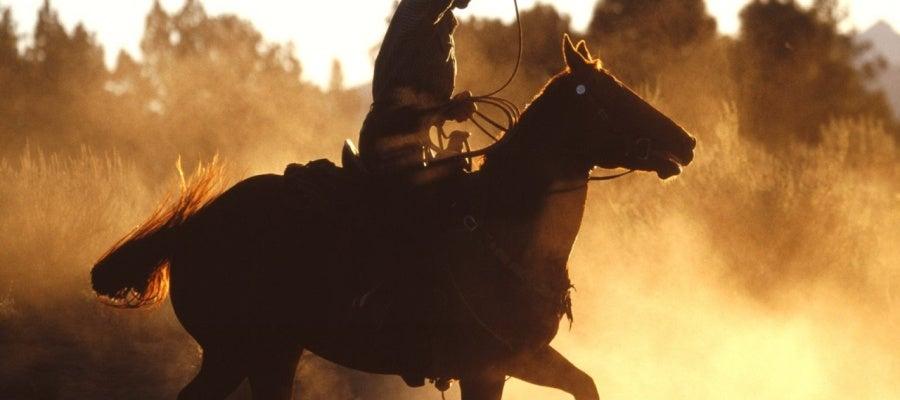 Cowboy usando el lazo