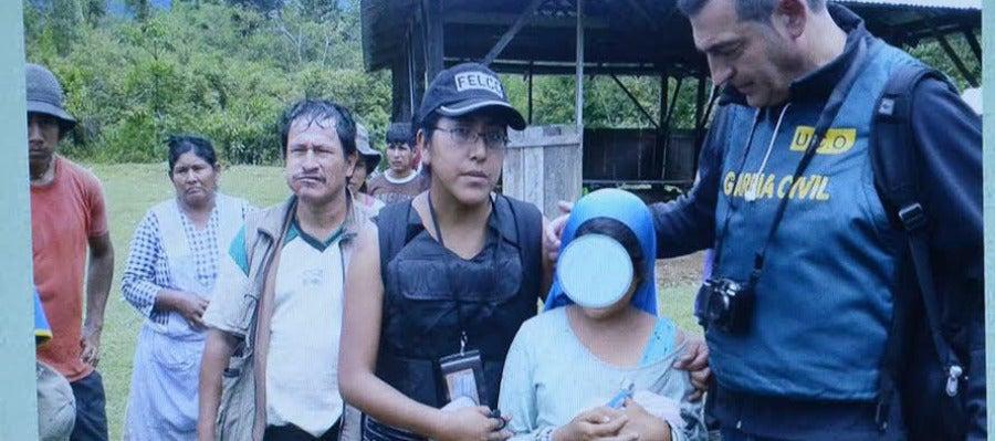 Imagen exhibida tras la liberación de la niña de nueve años