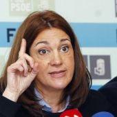 Soraya Rodríguez durante una rueda de prensa en el Congreso