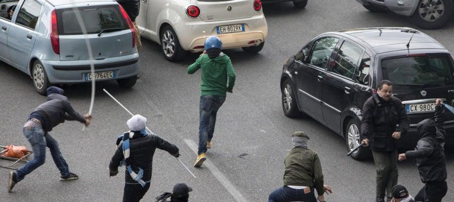 Disturbios en Roma antes de la 'Coppa'