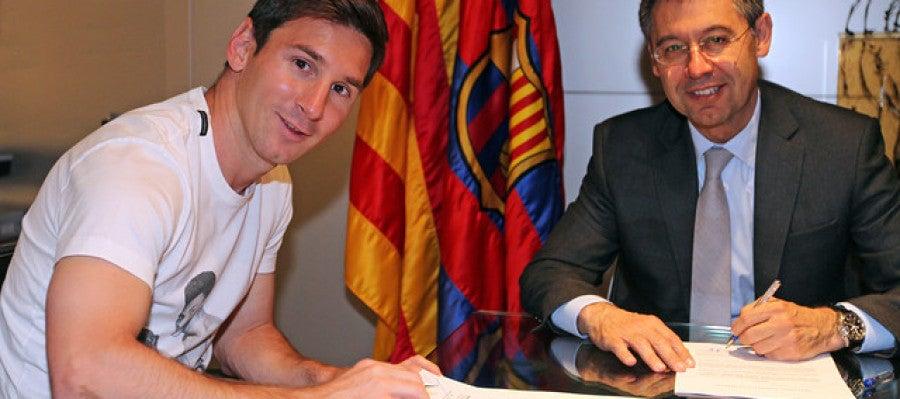 Leo Messi y Josep Maria Bartomeu