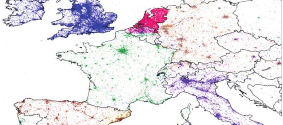 Mapa de Europa según los idiomas de los tuiteros