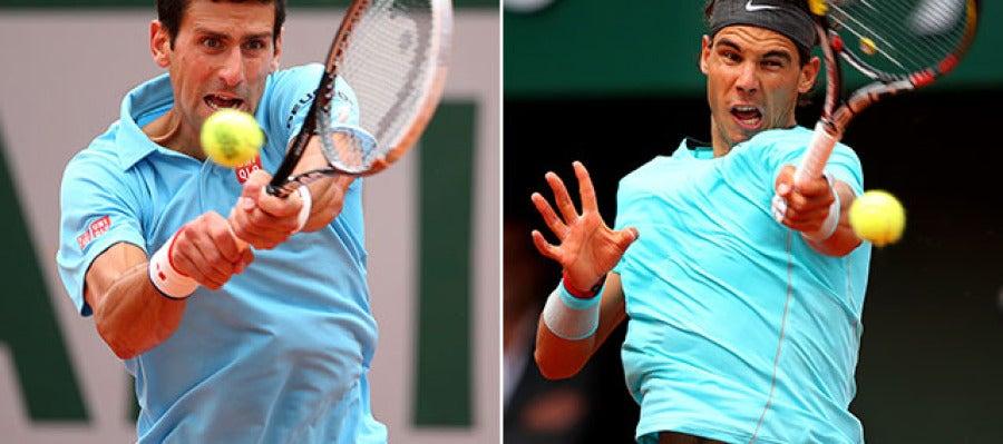 Djokovic y Nadal, en acción en Roland Garros