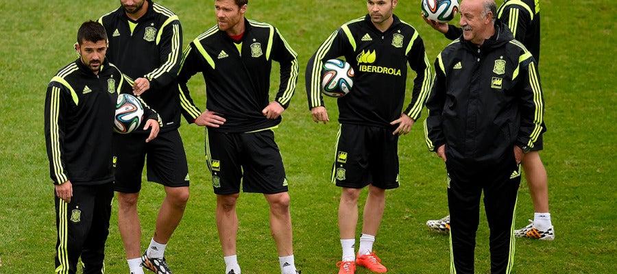 La selección española, durante el entrenamiento