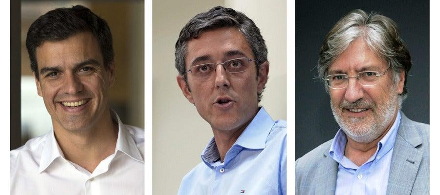 Los tres candidatos del PSOE