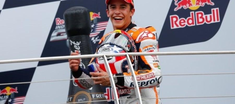 Marc Márquez celebra el triunfo en el GP de Indianapolis
