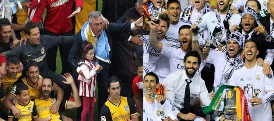 Atlético de Madrid y Real Madrid celebran la Liga y la Copa respectivamente