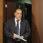 Javier Tebas, durante la rueda de prensa