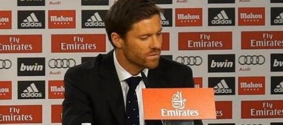 Xabi Alonso, en la rueda de prensa de su despedida del Real Madrid