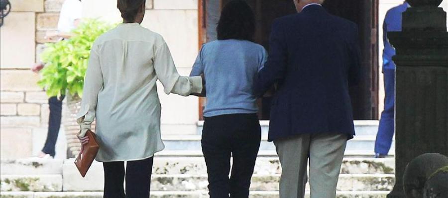 Ana Patricia Botín entra en la capilla ardiente de su padre, Emilio Botín