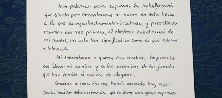 Manuscrito del primer discurso de Felipe VI en los Príncipe de Asturias en 1981