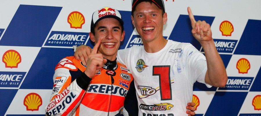 Tito Rabat, campeón del mundo de Moto 2, junto a Marc Márquez