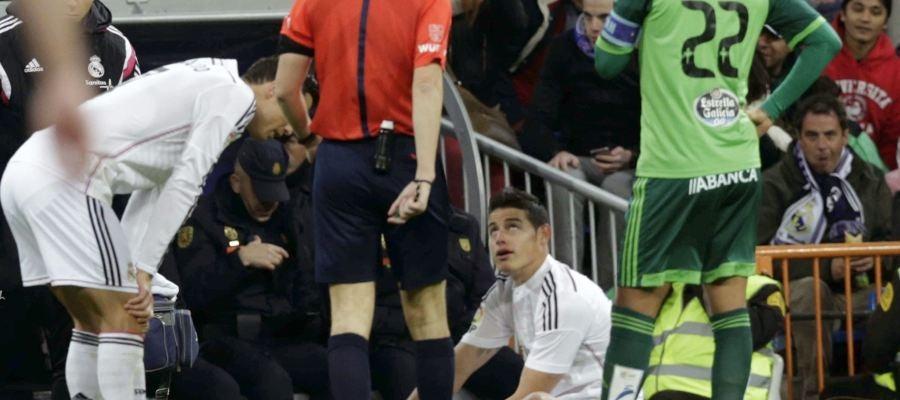 James Rodríguez, lesionado en el partido ante el Celta