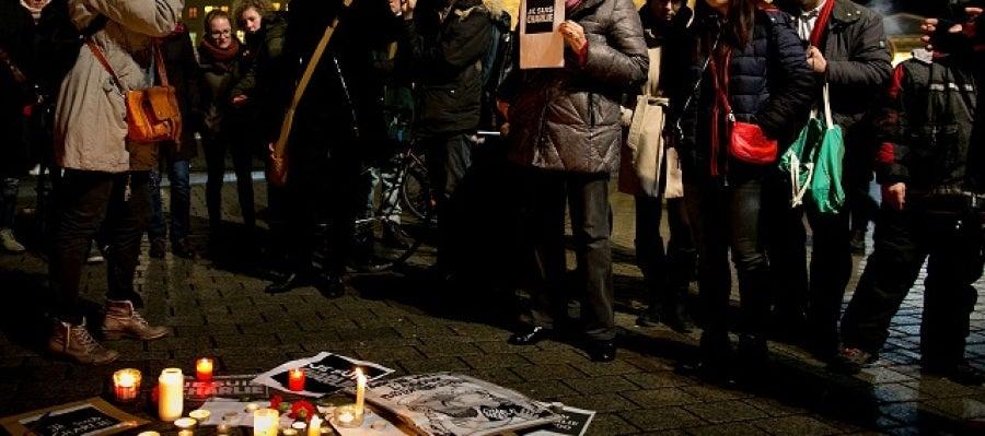 Manifestación en París por el atentado en Charlie Hebdo