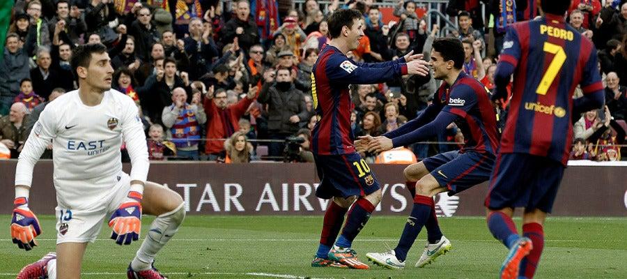 Messi celebra el 2-0 ante Mariño