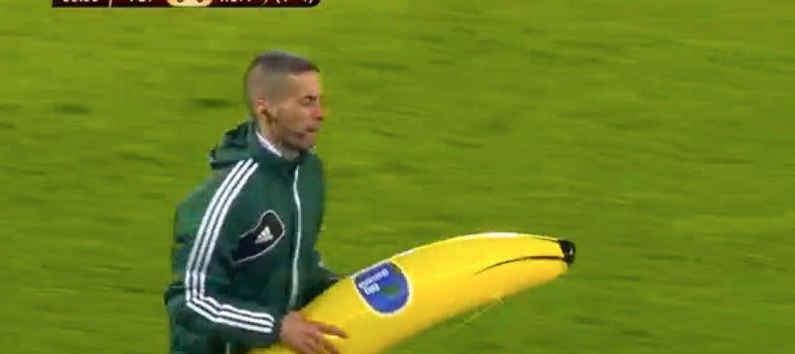 El plátano de plástico lanzado al campo
