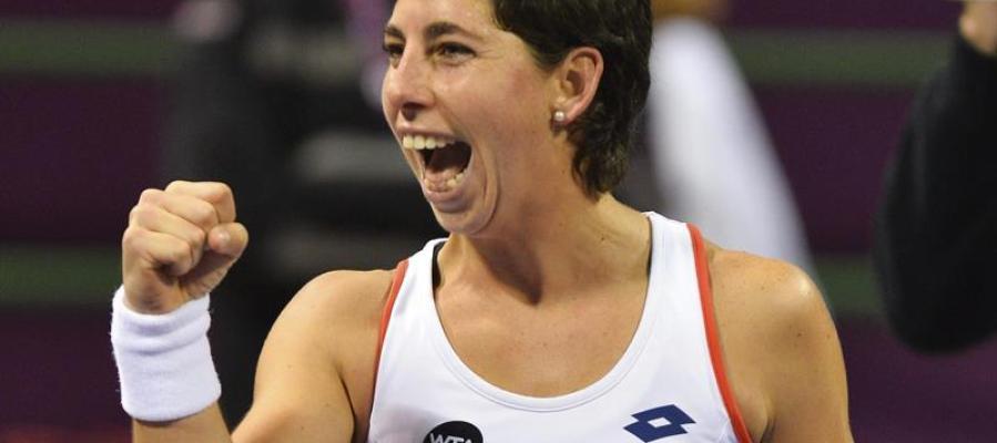 Carla Suárez celebra su victoria en el torneo de Doha