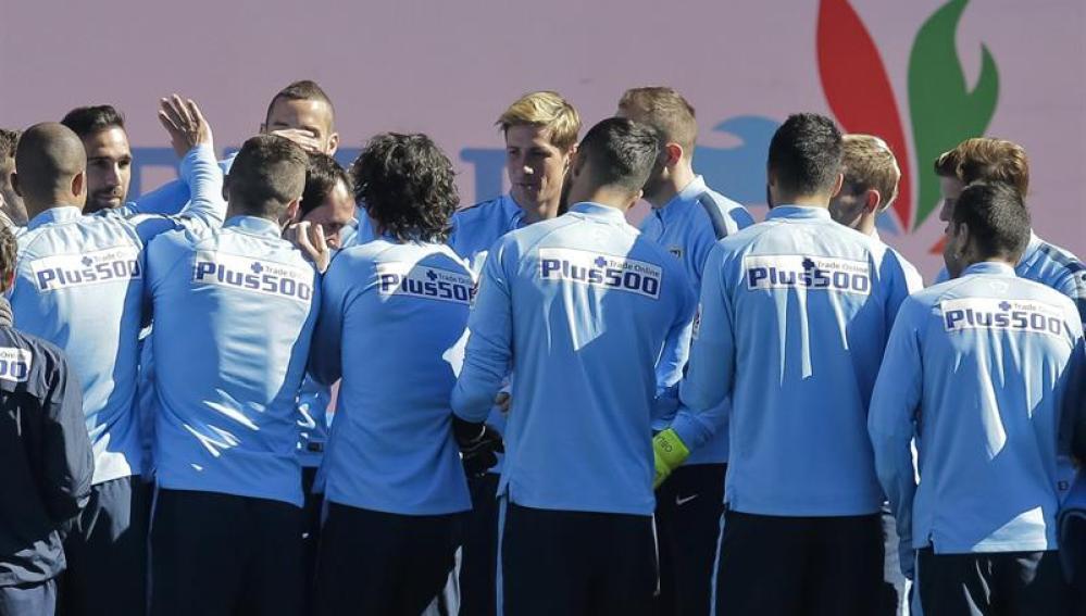El Atlético de Madrid durante un entrenamiento