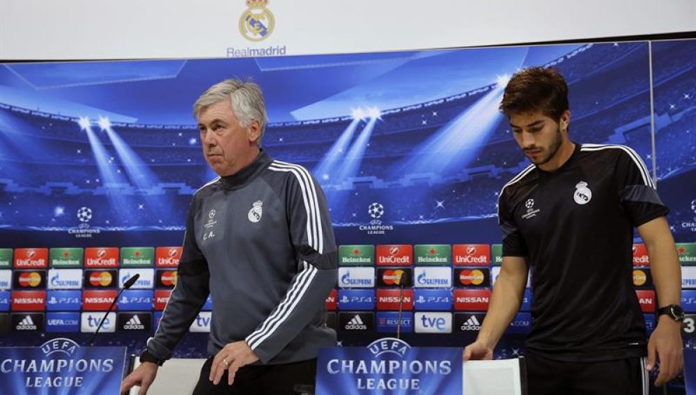 Ancelotti y Lucas Silva en rueda de prensa
