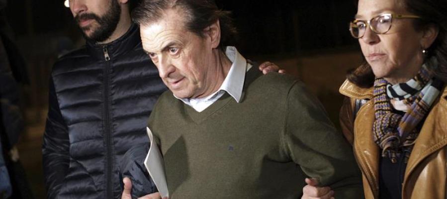 El expresidente del Osasuna Miguel Archanco, a su salida de la cárcel