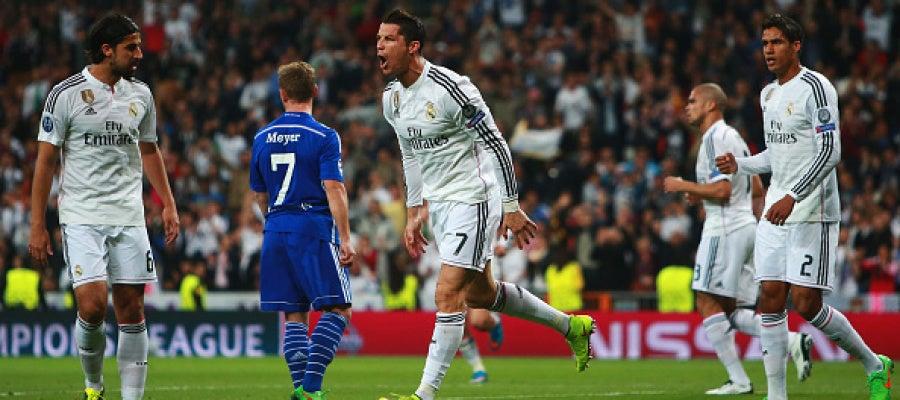 Cristiano Ronaldo saca la rabia al celebrar su primer gol ante el Schalke