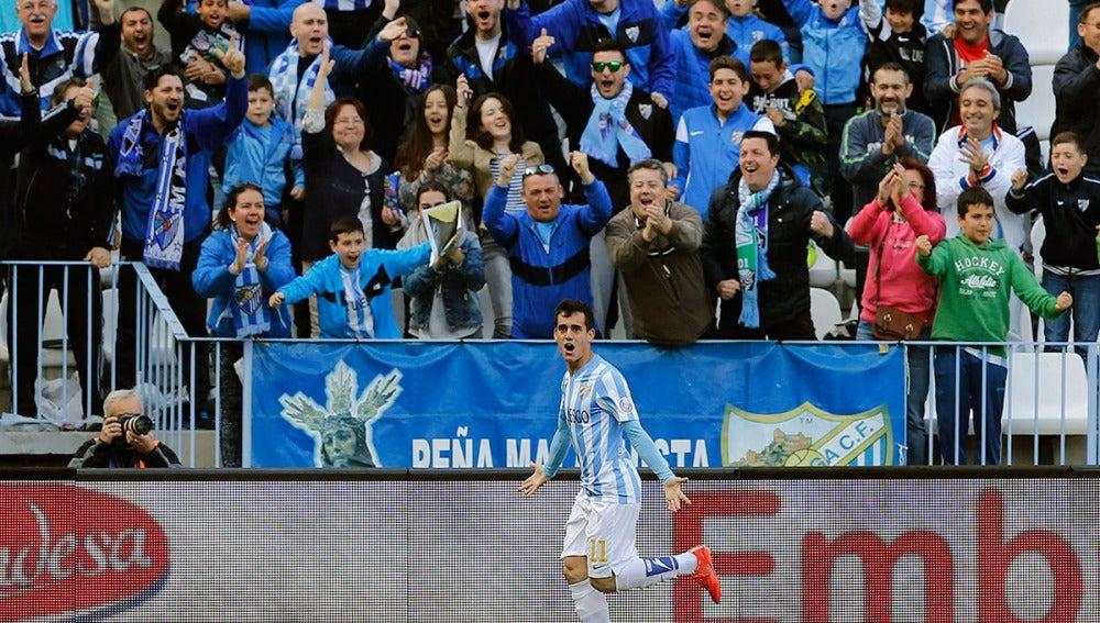 Juanmi celebra un gol ante el Córdoba