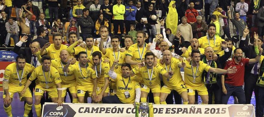 El Jaén Paraíso Interior celebrando la Copa de España de fútbol sala