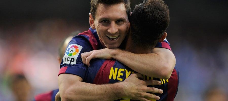 Messi y Neymar celebran un gol