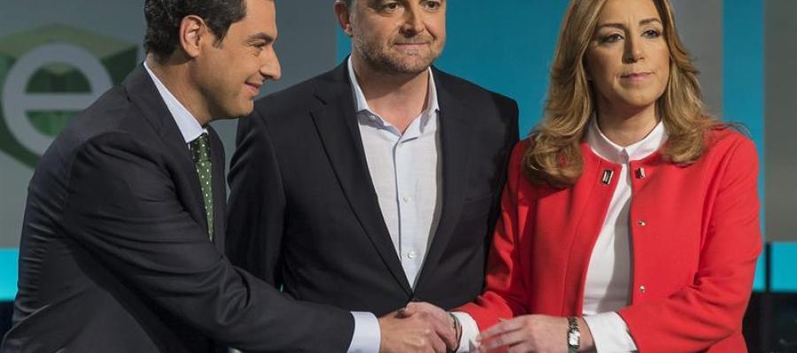 Juanma Moreno, del PP; Antonio Maíllo, de IU, y Susana Díaz, del PSOE