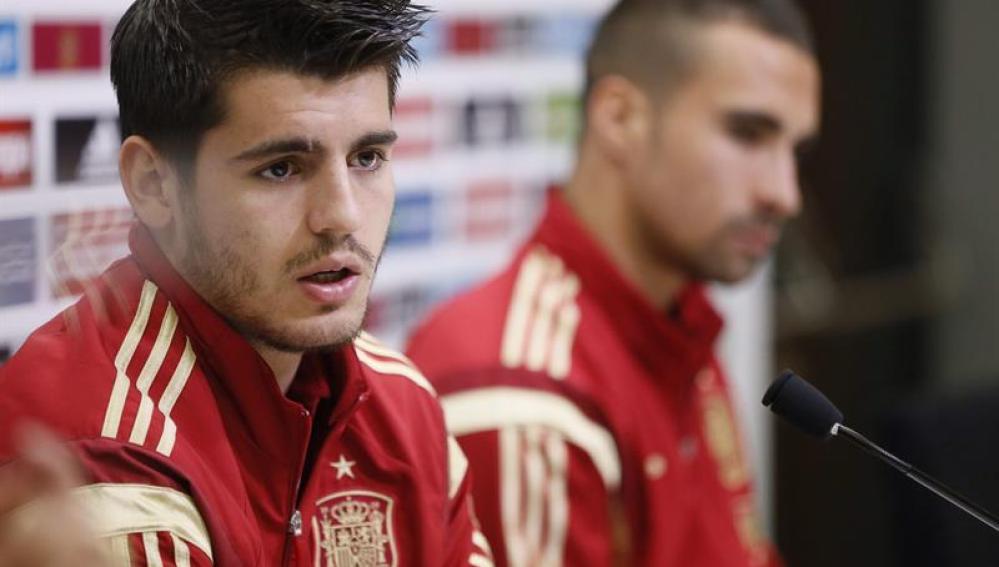 Morata en rueda de prensa con la Selección Española de Fútbol