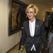 La dirigente de UPyD, Rosa Díez, a su llegada al Consejo Político en Madrid