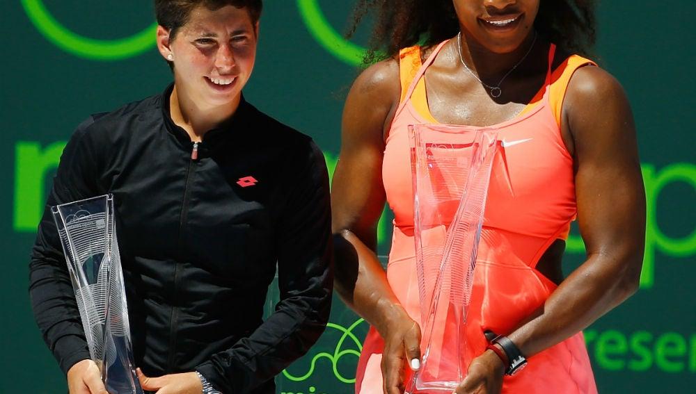 Carla Suárez, junto a Serena Williams