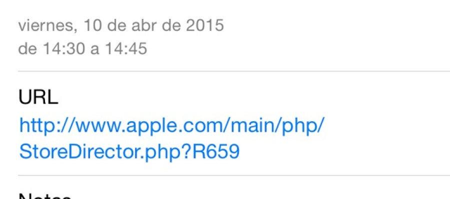 Mensaje de la cita para la prueba de Apple Watch
