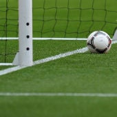 Detalle de la tecnología 'ojo de halcón' en una portería de fútbol