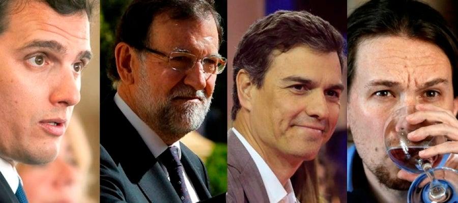 Albert Rivera, Mariano Rajoy, Pedro Sánchez y Pablo Iglesias
