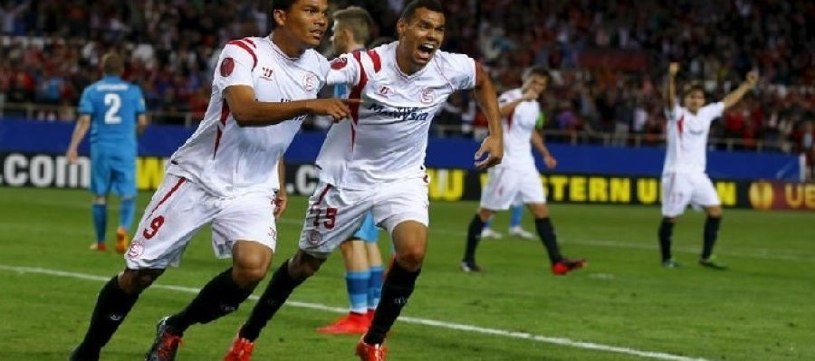 Carlos Bacca tras conseguir su gol ante el Zenit en la ida