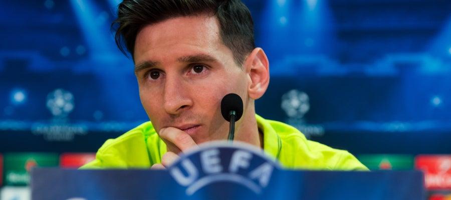 Lionel Messi en rueda de prensa