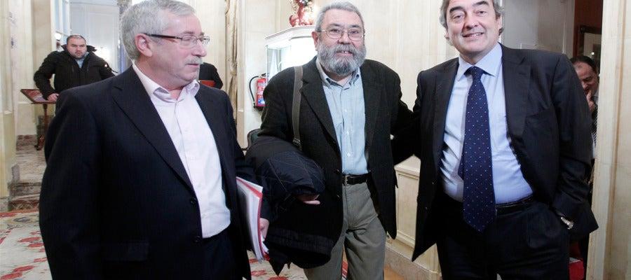 Ignacio Fernández Toxo, Cándido Méndez y Juan Rosell