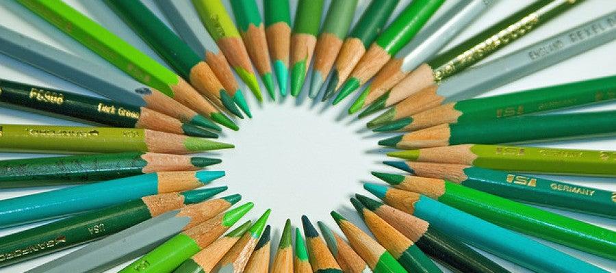 Lápices de color verde