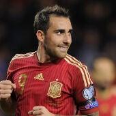 Paco Alcácer tras uno de sus goles ante Luxemburgo