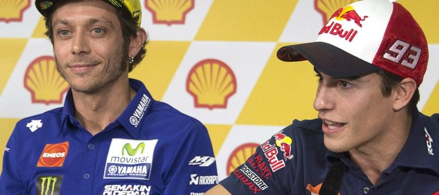 Valentino Rossi y Marc Márquez en rueda de prensa