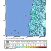 Mapa cedido por el Servicio Geológico estadounidense que muestra la ubicación del terremoto de Chile