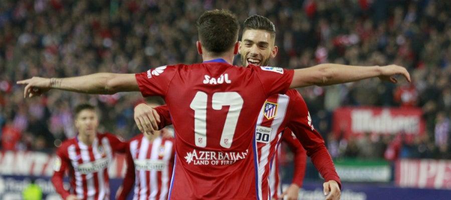 Saúl celebra su gol contra el Athletic