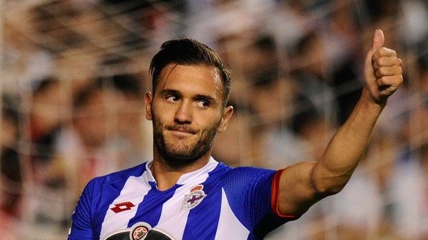 Lucas Pérez, en un partido con el Deportivo de la Coruña